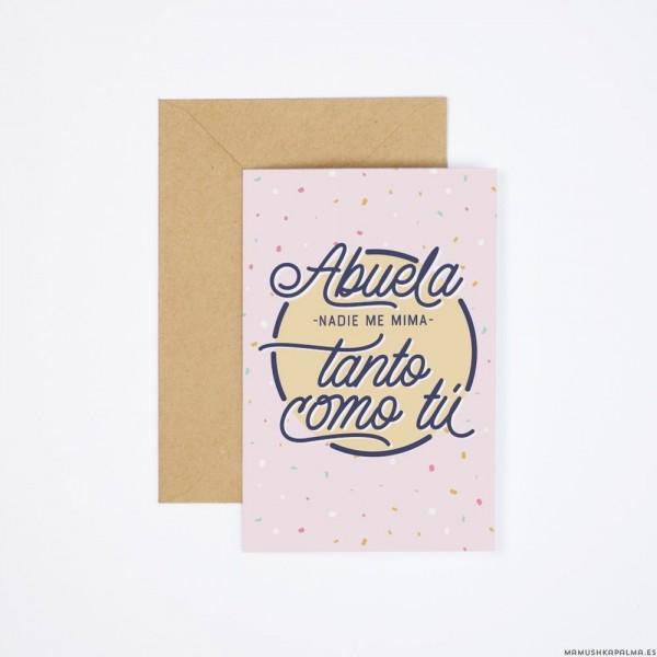 "Postal ""Abuela, nadie me mima tanto"""