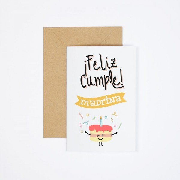"Postal ""Feliz cumple madrina"""