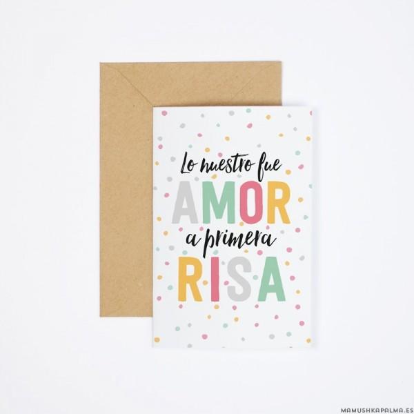 "Postal ""Amor a primera risa"""