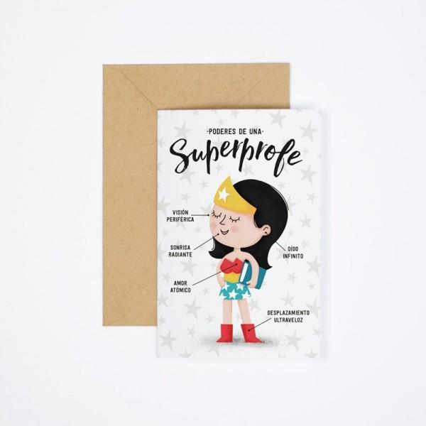 """Postal """"Poderes de una superprofe"""""""