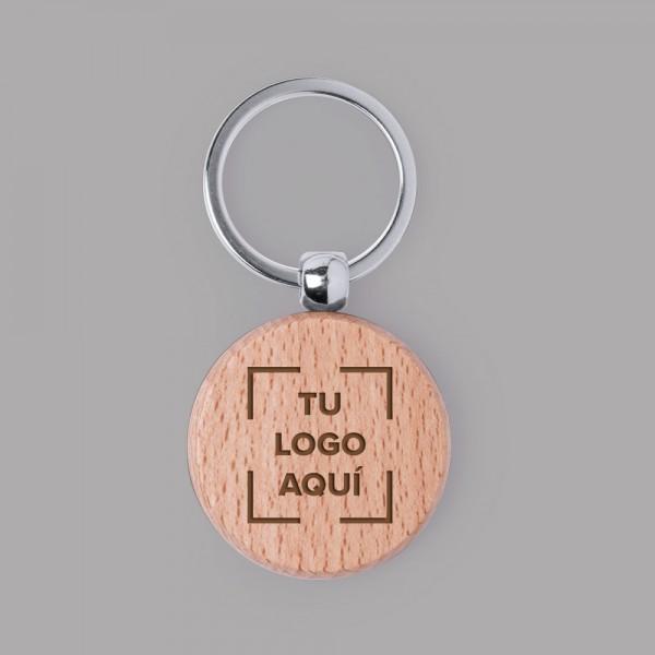 Llavero circular madera