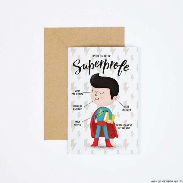"""Postal """"Poders d'un superprofe"""""""