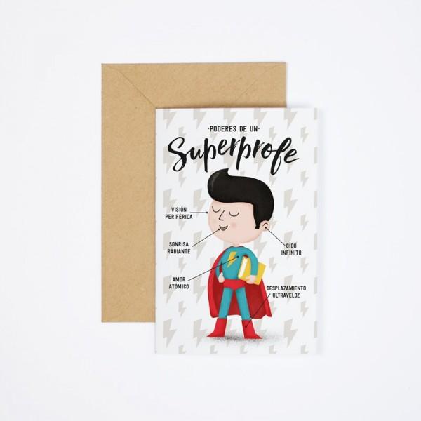"""Postal """"Poderes de un superprofe"""""""